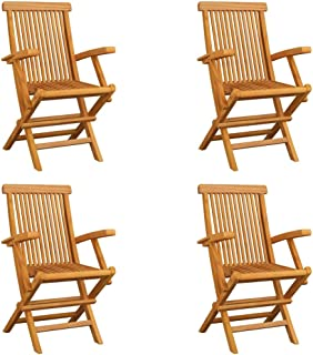 vidaXL 4x Solid Teak Wood Folding Garden Chairs Outdoor Seating Furniture Foldable Wooden Patio Side Seat Kitchen Dining R...