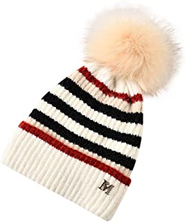 Ausexy_ Womens Winter Beanie Hat, Soft Lined Knitted Soft Ski Cuff Cap with Pom Pom