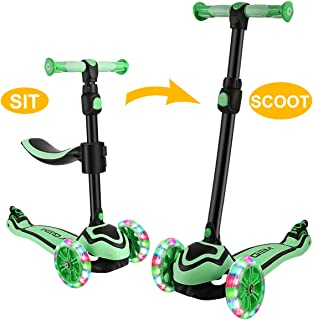 JOYGEM 2-in-1 Kids Scooter with Removable Seat, Deluxe 3 Wheel Kick Scooter, Led Flashing Wheels & Adjustable Handlebar for 2-12 Years Boys Girls