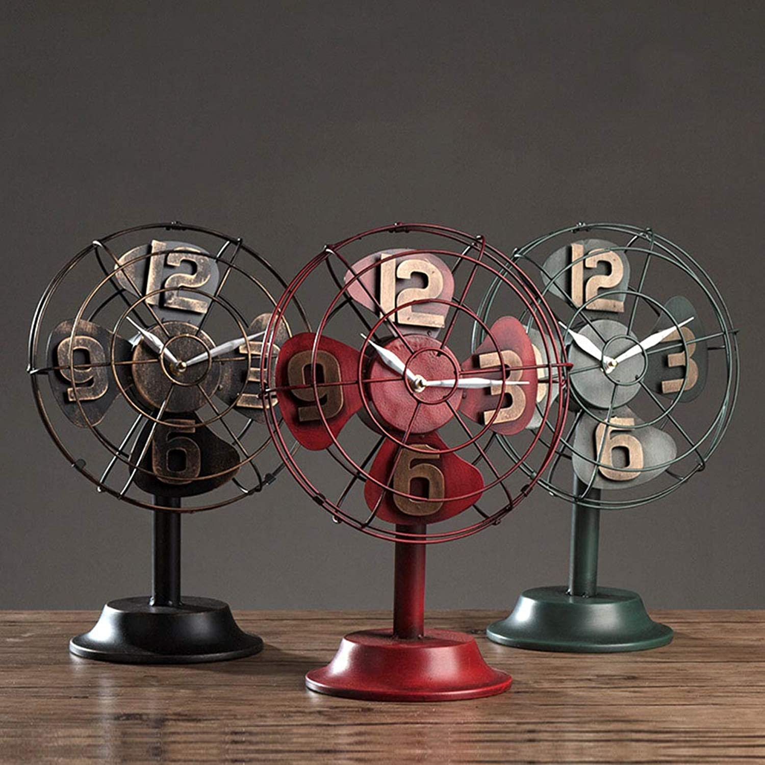 Mantel Clock, Retro Nostalgic Wrought Iron Fan Table Clock Creative Living Room Wine Cabinet TV Countertime Clock Desktop Decoration (color   B)