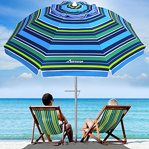 MOVTOTOP Beach Umbrella, 6.5ft Beach Umbrella with Sand Anchor & Tilt Mechanism, Portable UV 50+ Protection Beach Umbrella with Carry Bag for Patio Garden Beach Outdoor (Blue-cyan Stripe)