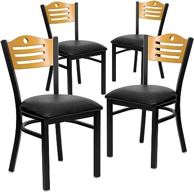 Flash Furniture 4 Pk. HERCULES Series Black Slat Back Metal Restaurant Chair - Natural Wood Back, Black Vinyl Seat