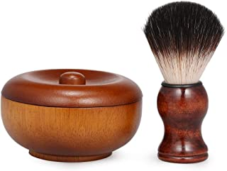 Anself Shave Lather Brush and Wooden Shave Bowl with Lid, Vintage Shaving Kits for Men, Traditional Wet Shaving Kit