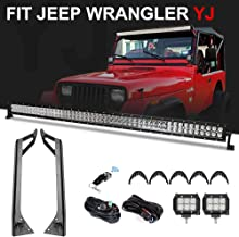 """Racbox 288W 50 Inch Off road Straight LED Light Bar + 2 x 4"""" LED Pods Light + Upper Windshield Mount Brackets with Wiring Harness Kit for Jeep Wrangler YJ 1987-1995"""