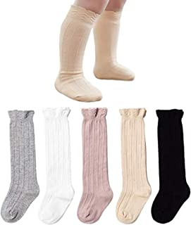 5 Pairs Baby Girls Boys Knee High Socks Tube Ruffled Stockings Infants and Toddlers