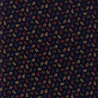 Kansas Troubles, Nature's Glory, Colorful, Small Leaves Allover, Navy Blue Background, Moda, 9586-14, by The Yard