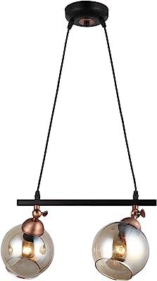 Homemania 1433-74-02-L Pendelleuchte Serrta, Hängeleuchte, Hängeleuchte, Licht, Schwarz, Kupfer, Metall, Glas, 15 x 36 x 90 cm
