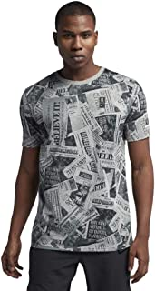 Nike Men's Kyrie Newspaper Print Dri-Fit Cotton Blend T-Shirt