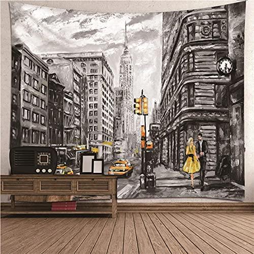 shuimanjinshan Wandteppich Wandbehänge New Yorker Straße Tapisserie Wandtuch Hausdeko Strandtuch Tagesdecke Boho Deko 260X350Cm (C1-2408)