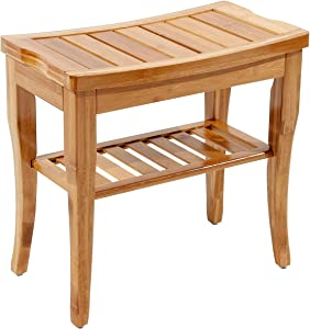 DlandHome Bamboo Bathroom Spa Shower Bench Foot Stool Bathing Seat with Storage Shelf, HSJ-04