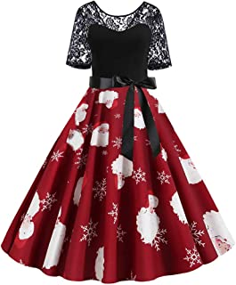 Dunacifa Women's Short Sleeve Lace Patchwork Christmas Vintage Dresses Xmas Print Party Flare Dress