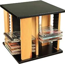 PLAFUETO Wood CD Racks 360° Rotatable Disc Shelf CD Storage Holder Disc Organizer DVD Collection Display Shelf DVD Holder ...
