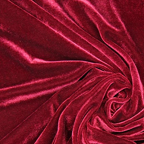 Fabulous Fabrics Samt bordeauxrot, Uni, 147cm breit – Samt zum Nähen von Abendkleidung, Blazern und Tops – Meterware erhältlich ab 0,5 m