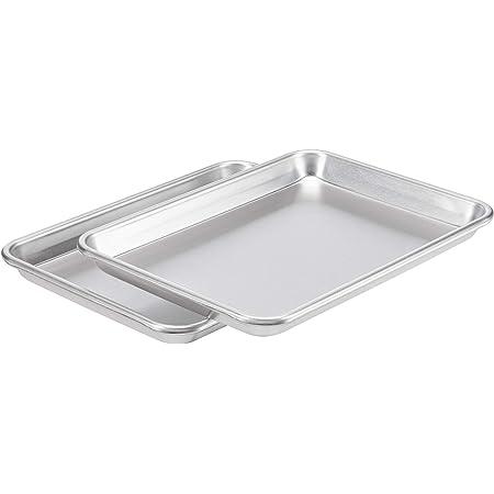 AmazonCommercial Aluminum Baking Sheet Pan, 1/4 Sheet, 12.9 x 9.6 Inch, Pack of 2