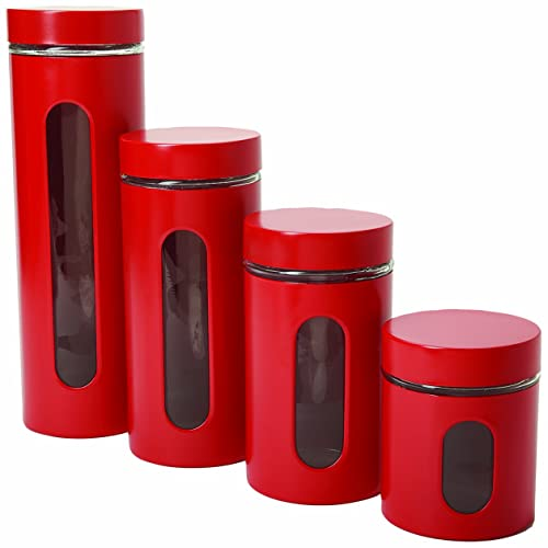 Black And Red Kitchen Canister Sets Chicken Set Rooster ...