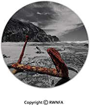 3D Printed Modern No-Shedding Non-Slip Rugs,Weathered Photo of Aged and Decayed Flaking Anchor on The Beach by The Hills Marine 2' Diameter Orange,Machine Washable Round Bath Mat
