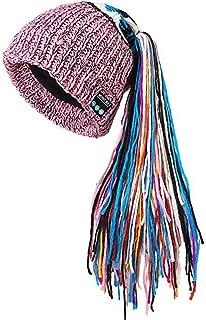 GLJJQMY European and American Viscera Plus Velvet Bluetooth Cap Hand-Woven Bluetooth Earphone (Color : Pink)