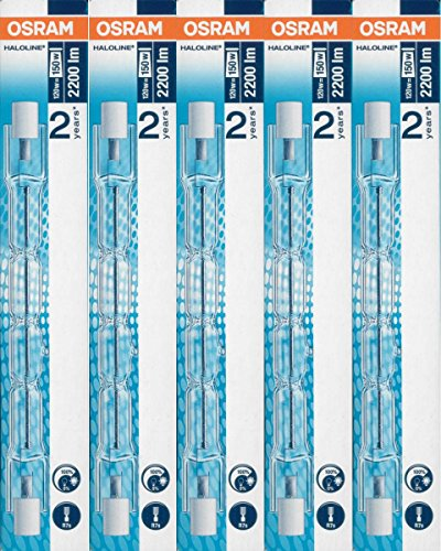 5 Stück Osram Halogenstablampe Haloline Pro, 64696, R7s, 230V, Länge: 114,2 mm (120 Watt)