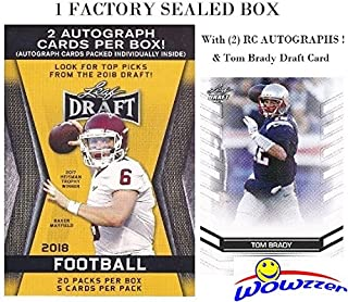 2018 Leaf Draft Football EXCLUSIVE HUGE Factory Sealed 20 Pack Retail Box with TWO(2) AUTOGRAPHS & BONUS TOM BRADY Draft Card! Box Includes (100) ROOKIE Cards of all the Top NFL Draft Picks! WOWZZER!