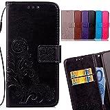 LEMORRY para Samsung Galaxy C9 Pro Funda Estuches Pluma Repujado Cuero Flip Billetera Bolsa Piel Slim Protector Magnética Cierre TPU Silicona Carcasa Tapa, Lucky Clover Negro
