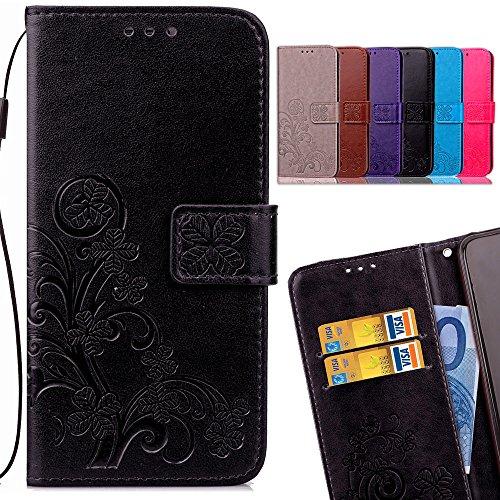 LEMORRY Coque pour Huawei Honor 9 Lite Etui Cuir Portefeuille Pochette Gaufrage Housse Protecteur Magnétique Fente-Carte Silicone TPU Flip Cover Etui pour Huawei Honor 9 Lite, Feuille Chanceux (Noir)