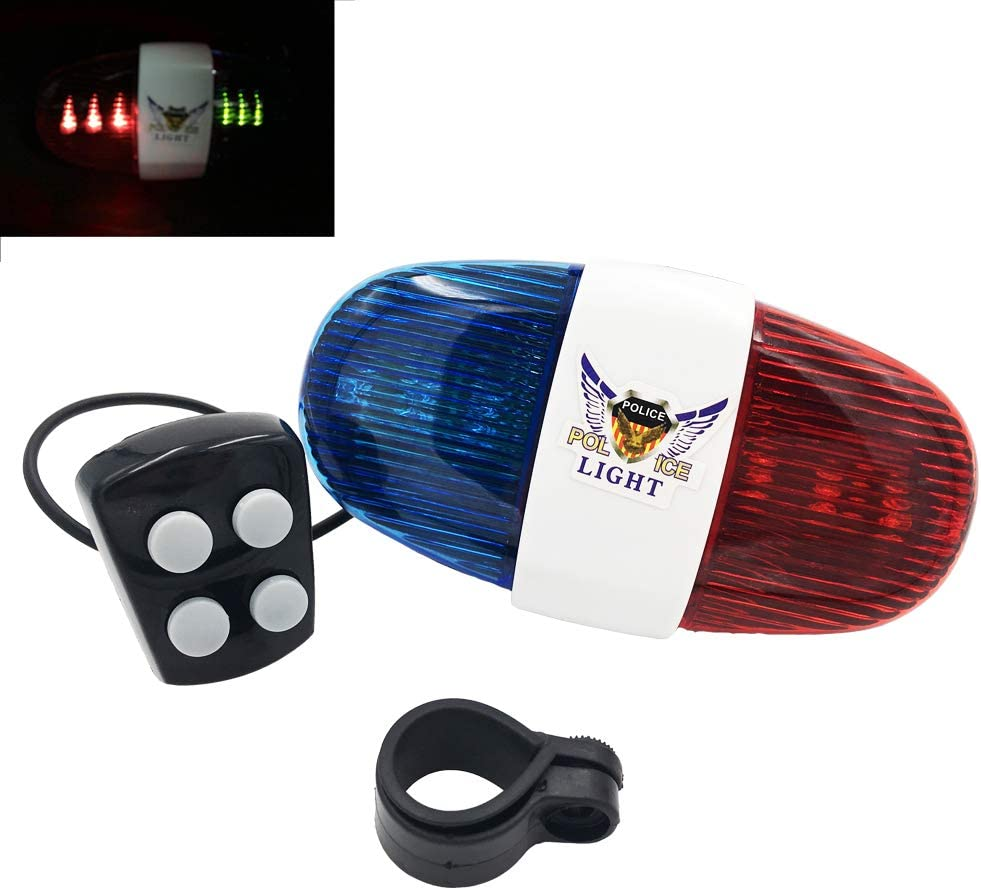 BONDEE Bike Bicycle Police LED Light 6-LED Strobe Blue Red Bicycle Safety Light 4 Melody Loud Siren Sound Trumpet Cycling Horn Bells