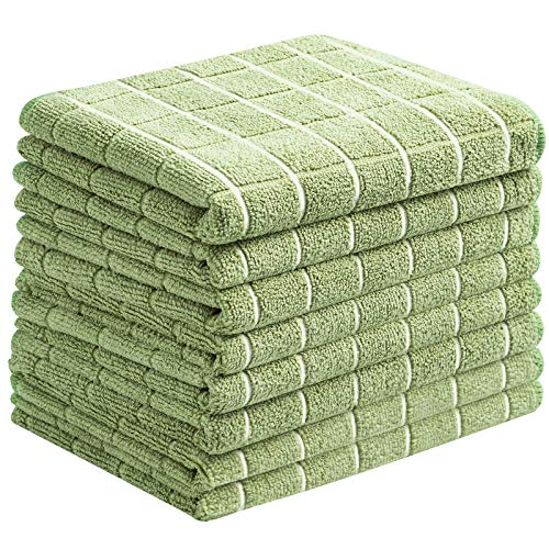 Microfiber Dish Towels - Soft, Super Absorbent and Lint Free Kitchen Towels - 8 Pack (Lattice Designed Olive Colors) - 26 x 18 Inch (Olive Green)