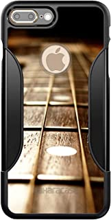 DistinctInk SaharaCase for iPhone 7 PLUS / 8 PLUS - Black Shockproof Custom Case - Protective Kit & ZeroDamage Screen Protector - Guitar Strings Neck