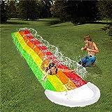 15 FT Lawn Water Slides, Rainbow Slip Slide Play Center With Splash Sprinkler