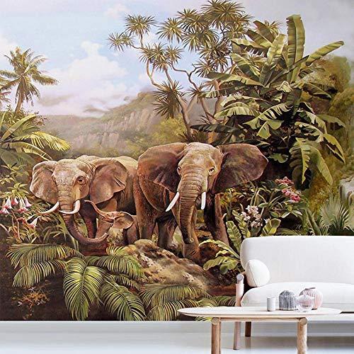Msrahves Papel Pintado Fotográfico Animal elefante verde cocotero 210X140CM Fotomural Vinilo de Pared para Paredes Decoración Hogar Pared Fotomurales ParedFotomural Decorativo Vinilo Decorativo