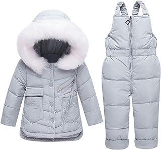 M/&A Baby Girl Boy 2-Piece Printed Snowsuit Winter Puffer Down Jacket Coat Snow Pants