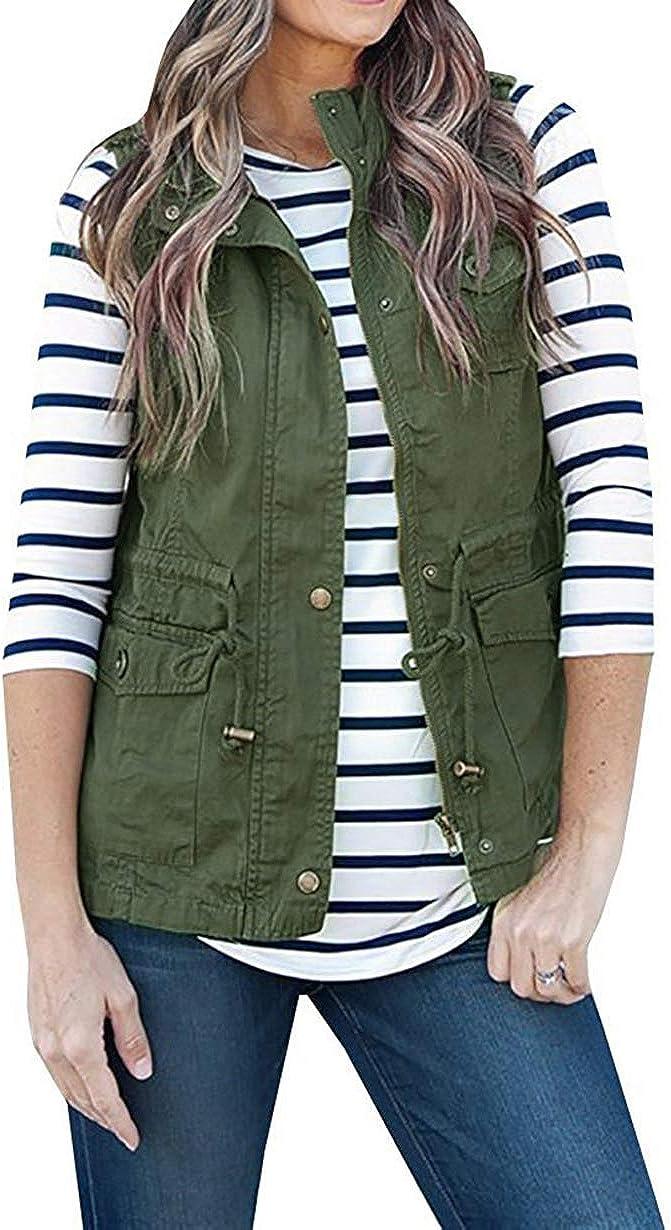 Women Sleeveless Lightweight Vest Jacket Utility Vest Military J