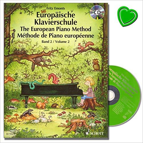 Europäische Klavierschule Band 2 mit CD von Fritz Emonts - Spielerischer Anfang ohne Noten - Improvisation und Spiel - Viele vierhändige Klavierstücke - Notenklammer / ED 7932-50 / 9783795754365