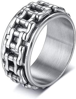 Oudiy Men Ring Motorcycle Biker Bicycle Chain Stainless Steel Wedding Brand s Spinner Rock Male Jewelry