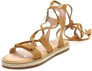 VOWAN Women's Bohemia Gladiator Flat Sandals Vegan Suede Summer Fashion Open Toe Comfy Beach Sandal Shoes