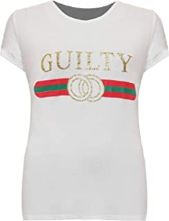 Hi Fashionz Children Guilty Slogan Print T Shirt Kids Girls T-Shirt Boys Short Sleeve Tee Top UK 5-13 Years