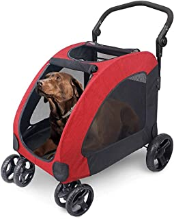 WWL Pet Four Wheeled Stroller Dog Troey Cat Carts Foldabe For Medium Large Dogs Outgoing Load Within 60kg (Color : C)