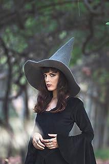 Sombrero de bruja gris de lana wicca halloween disfraz cosplay