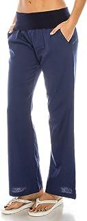 Poplooks Women's Comfy Fold Over Linen Pants