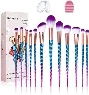 16PCS Makeup Brush Set, MYSWEETY 2019 12PCS Foundation Colorful Unicorn Blending Cosmetic Eyeshadow Brush + 2pcs Silicone Makeup Sponge + 1pc Makeup Wash Egg