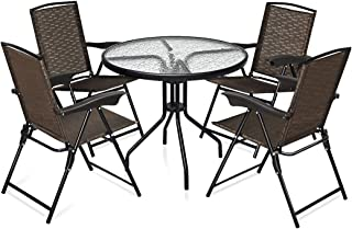 Goplus 5-Piece Bistro Set Outdoor Patio Furniture Weather Resistant Garden Round Table and 4 Folding Sling Chairs (4 Sling Chairs+Upgraded Table)