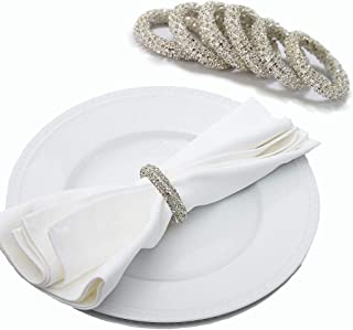 Getfitsoo Napkin Ring,Napkin Holder for Wedding Christmas Party Dinner Table Decor 6 Pcs (Diamond Circle)