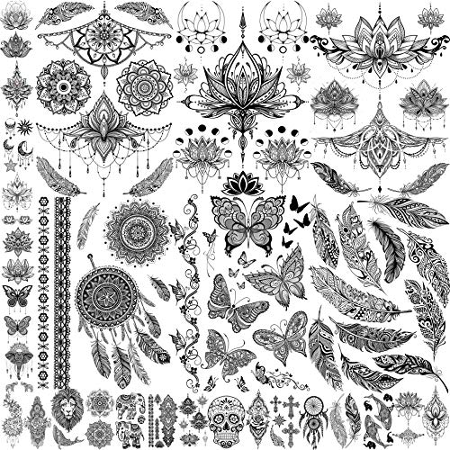 JOEHAPY 28 Sheets Sexy Lace Black Henna Temporary Tattoos For Women Adult Girl Mandala Flower Indian Tribal Lotus Fake Jewelry Butterfly Feather Tattoo Sticker Skull Dreamcatcher Tattoo For Chest Neck