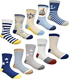 Muyubei Kids Boys Fashion Cute Colorful Cotton Crew Baby Socks,10 Pairs(FBA)