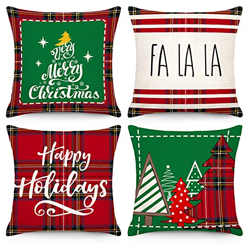 CDWERD Juego de 4 fundas de almohada navideñas de 45 x 45 cm, color verde y rojo, decoración de casa de campo, funda de cojín de lino para decoración del hogar