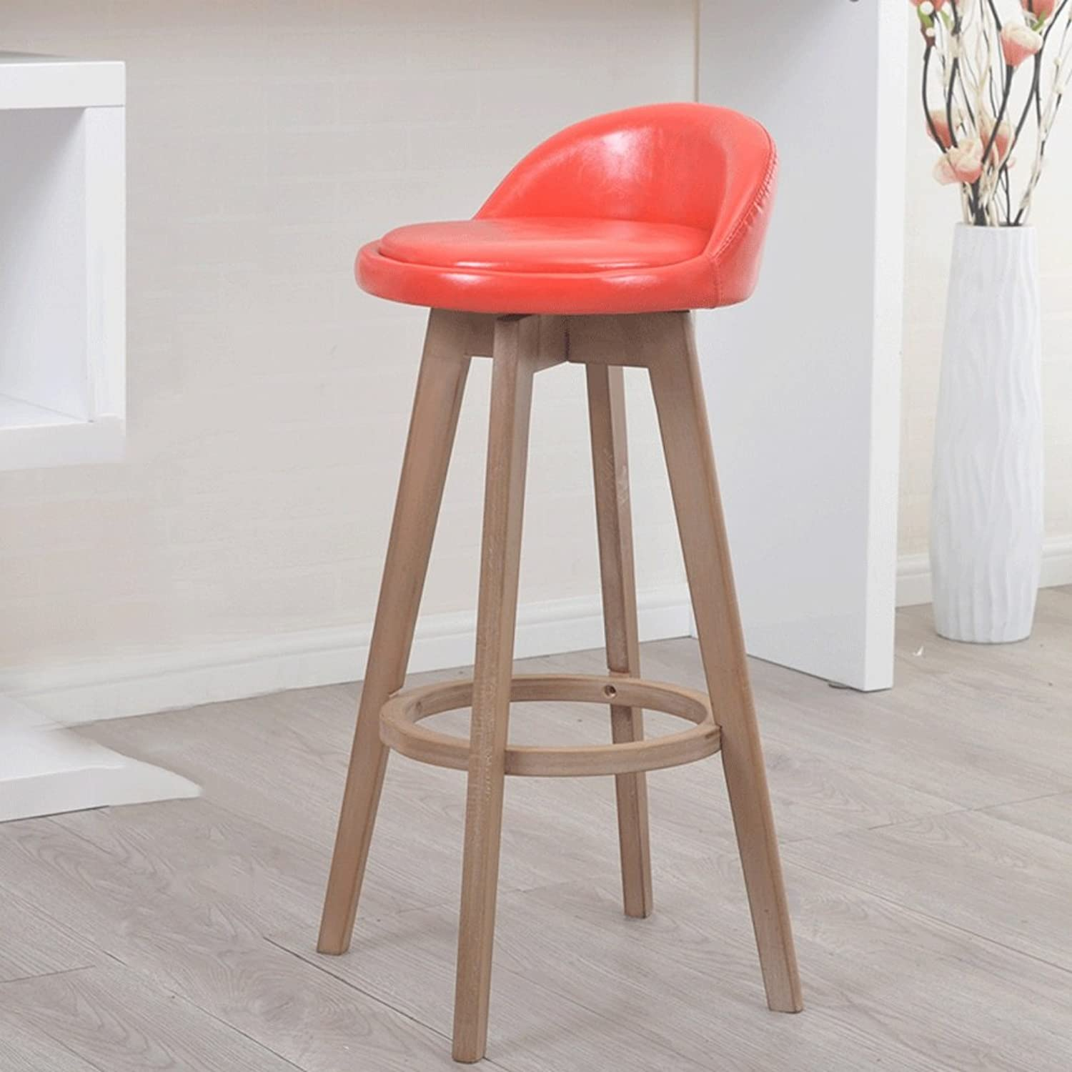 Barstool Solid Wood Bar Chair Red Soft Skin Can redate The Stool Bar Chair Bar Chair High Chair (Size   63cm)