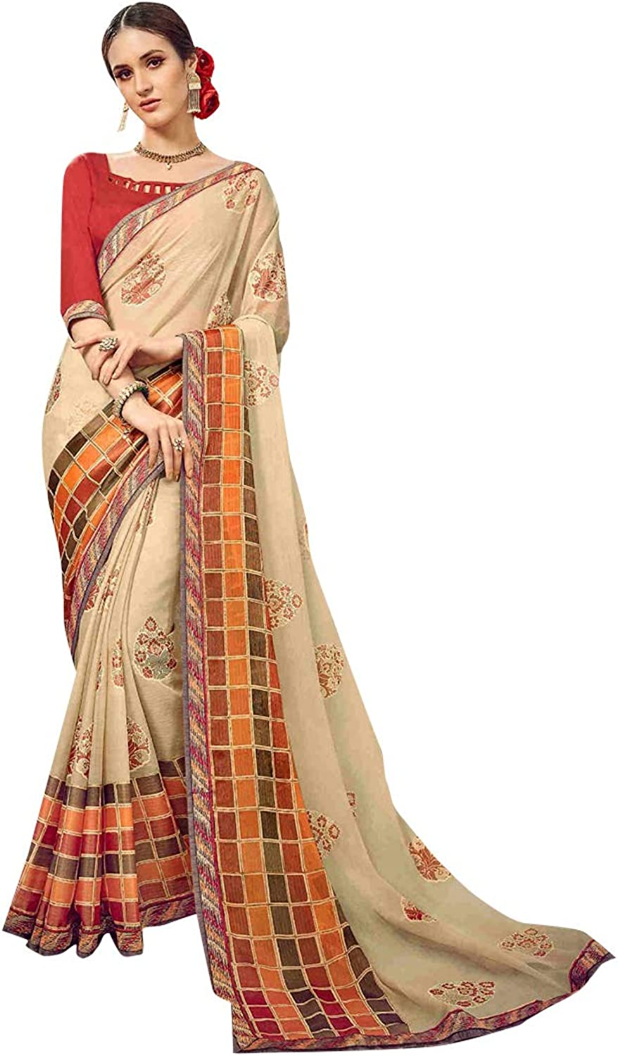 Traditional Indian Designer Printed Saree Women Sari with Blouse piece Party wear collection 7833