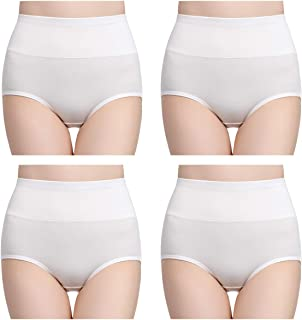 Women's High Waisted Cotton Underwear Briefs Ladies Soft Breathable Full Coverage Panties Multipack