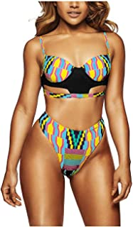 7f8e4bccaa8 Kaamastra Women's African Print Cut Out High Waist Swimsuit  LC410104-3_Multi-Coloured_Freesize