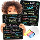 """First Day and Last Day of School Board Signs - 14"""" X 11"""" Double-Sided Printing - First Day Preschool Kindergarten Back to School Supplies Signs for Kids - Reusable 1st Day of School Chalkboard Sign"""